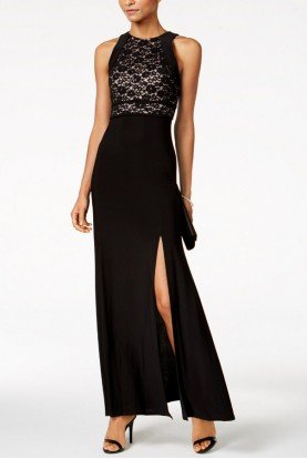Black Lace A-Line Gown 21551W