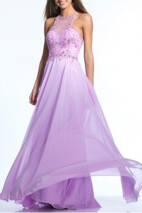 Chiffon Flair Illusion Gown 2124