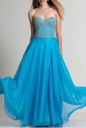 Blue Chiffon Sweetheart A Line Gown 2674