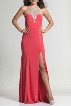 Coral Embellished Open Back Halter Gown 2363