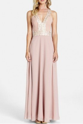 Blush Sequined Delani A Line Gown DELANI B
