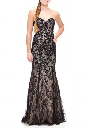 Black Fitted Strapless Lace Gown E1904
