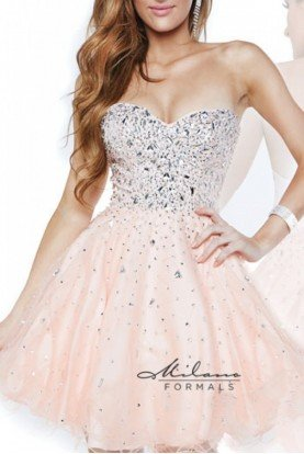 Peach Tulle Strapless Beaded Cocktail Dress E1617