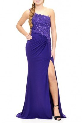 Purple Beaded One Shoulder Fitted Gown E1903