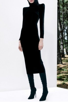 Black Palmer Long Sleeve Velvet Midi Dress D504