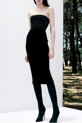 Black Strapless Velvet Leopard Midi Dress D505