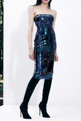 Sequined Mila Strapless Sequin Midi Dress D522