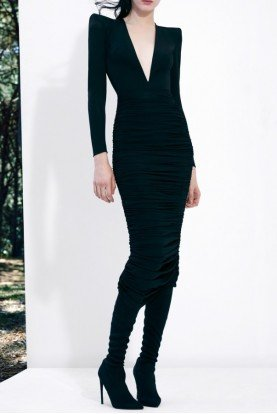 Black Clove Ruched Jersey V-Neck Midi Dress D512