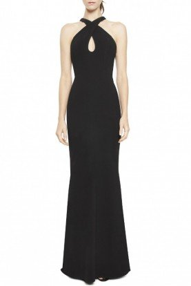 Black Halter with Back Cut Out Gown 461413