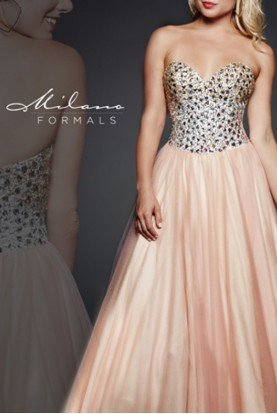 Peach Beaded Bodice Tulle Gown E1619