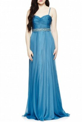 Teal Sequinned A Line Gown 8673