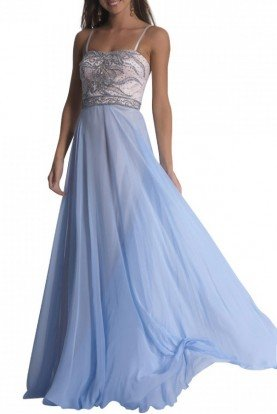 Ice Blue Beaded A-line Gown 1331