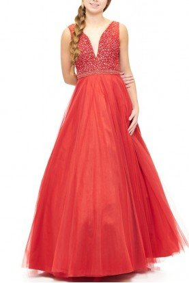 Red Tulle A-Line Ballgown E1912