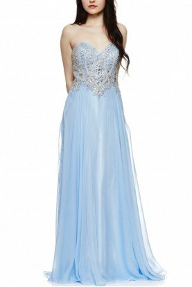 Blue Jeweled Embellished Strapless Gown 1186