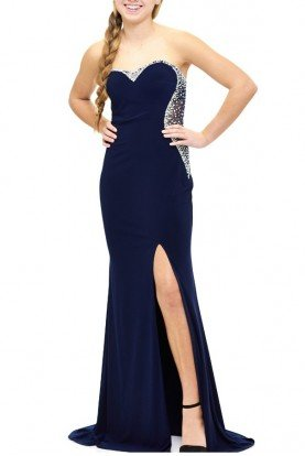Blue Jeweled Back Gown E1778