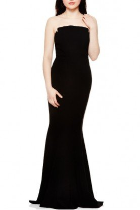 Black Notched Strapless Dress 461304