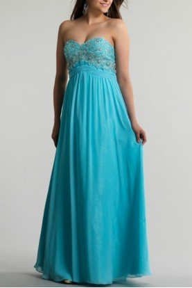 Blue Beaded Strapless Gown 9660