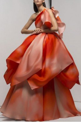 Orange One Shoulder Lewisville Gown 192