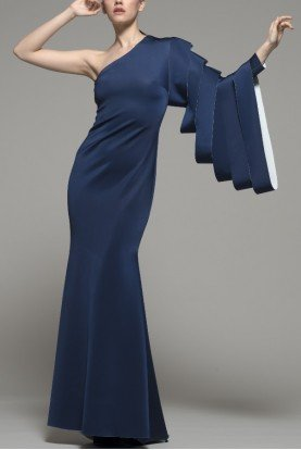 Blue One Shoulder Gamewell Gown 133