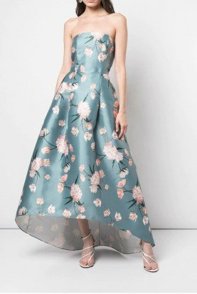 Blue Floral Strapless Dress T19D30