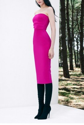 Pink Dylan-Strapless Stretch Crepe Midi Dress D519