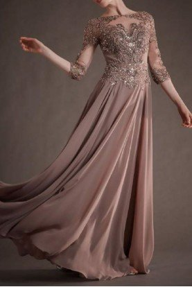 Rose Quartz Lace Sleeve Beaded Tulle Chiffon Gown