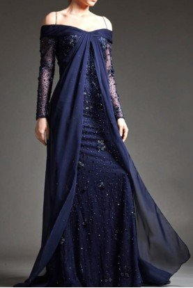 Navy Blue Beaded Long Sleeve Lace Gown