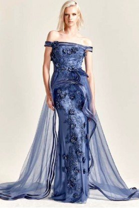 Embroidered Off Shoulder Tulle Gown in Wedgewood