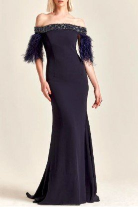 Navy Blue Off Shoulder Crepe Gown