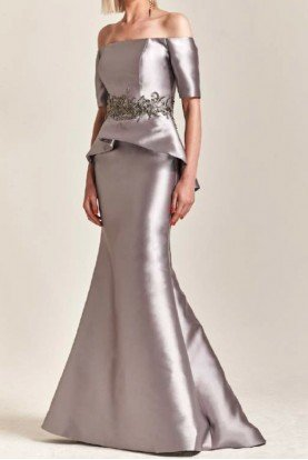 Off Shoulder Mikado Gown in Metallic Pewter