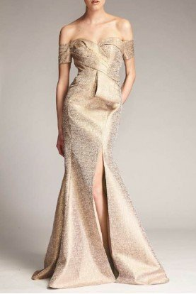 Gold Off Shoulder Brocade Gown