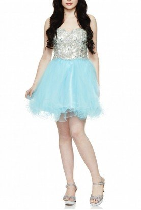 Angela and Alison Turquoise Jeweled Cocktail Dress 42030