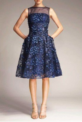 Navy Sleeveless Tulle Cocktail Dress M124