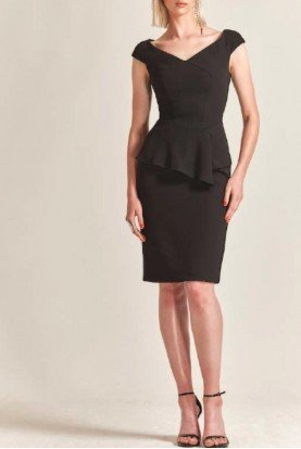 Black Crepe Cap Sleeve Cocktail Dress M204