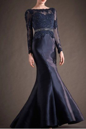 Navy Blue Beaded Mikado Mermaid Gown M143
