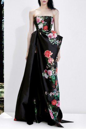 Black Strapless Draped Floral Gown  D540