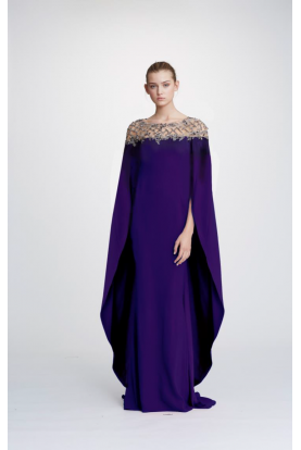 M26830 Amethyst Crepe Cape Sleeve Gown