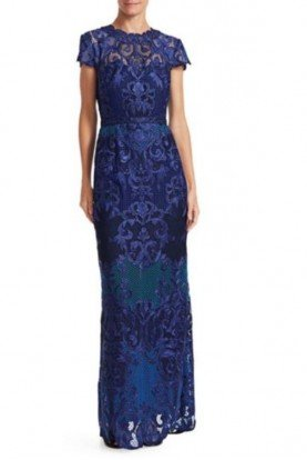 Royal Blue Short Sleeve Column Gown N25G0646