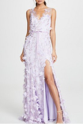 Lilac Floral Embroidered Chiffon Gown N30G0528