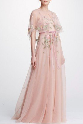 Blush Sleeveless Tulle Capelet Gown  N32G0911