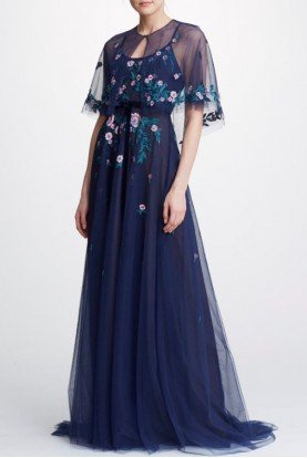 Navy Sleeveless Tulle  Capelet Gown N32G0911