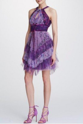 Marchesa Notte Lilac Printed Tulle Cocktail Dress  N32C0945