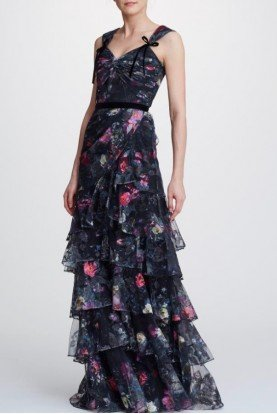 Black Printed Embroidered Tiered Gown  N32G0919