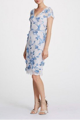 Marchesa Notte Ivory Short Sleeve Foral Cocktail Dress N30C0858