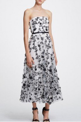White and Black 3D Floral Midi Tea Dress N30G0872
