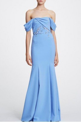 Marchesa Notte Light Blue Off Shoulder Mermaid Gown  N30G0865