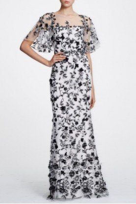 Black and White Cape Sleeve Floral Gown N30G0843