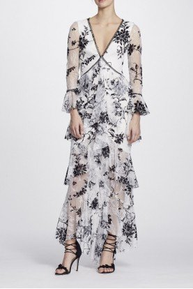 Ivory Floral Flocked Lace Gown N25G0654