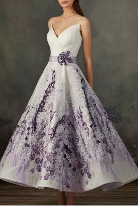 MNM Couture Lilac Strapless Midi A Line Dress