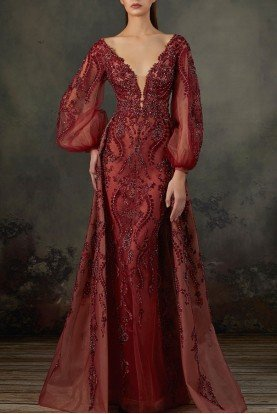 MNM Couture Burgundy Scalloped Long Sleeve Beaded Gown K3685
